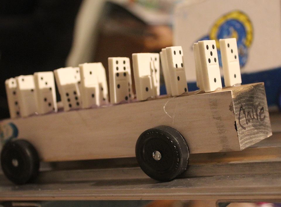 Civitan member race car shaped like a row of dominos