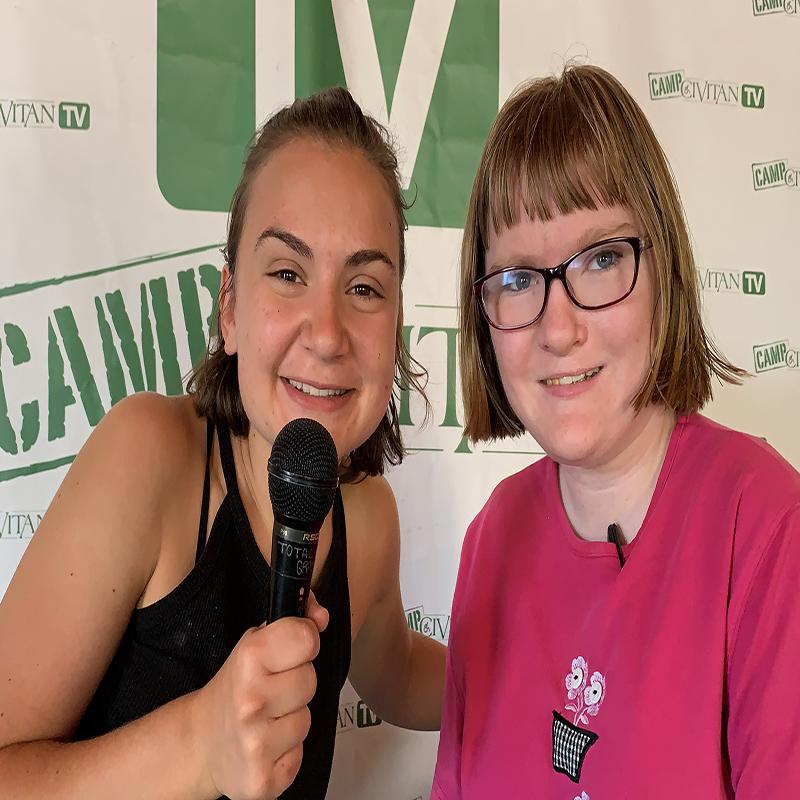 Camper being interviewed on set of Camp Civitan TV